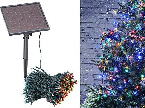 Lunartec Solar LED Lichterbaum: 4-farbige Solar-LED-Lichterkette mit 500 LEDs und Timer, IP44, 50 m (Lichterkette bunt)