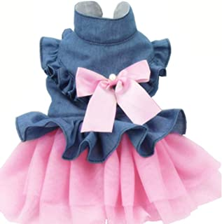 ANIAC Pet Denim Dress with Cute Bow-Knot Comfy Vest Skirt Lace Trim Tutu Summer Spring Clothes for Cats and Small Dogs