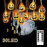 Kürbis Lichterkette, mixigoo 30 LED Halloween Kürbis Lichter Batteriebetrieben mit Fernbedienung und Timer 8-Mode 4.5m 3D Kürbis Beleuchtung für Halloween Weihnachten Festival Party Dekoration