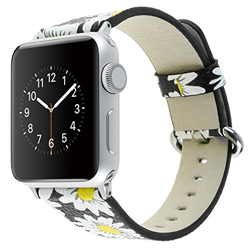 YOSWAN Bracelet for Apple Watch, National Black White Floral Printed Leather Watch Band 38mm 42mm Strap for Apple Watch Flower Design Wrist Watch Bracelet (Chrysanthemum Black, 38mm)
