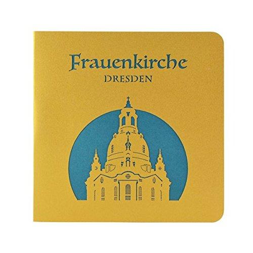 Wunderkarte Dresdner Frauenkirche türkis: 3D, Klappkarte, Midi-format