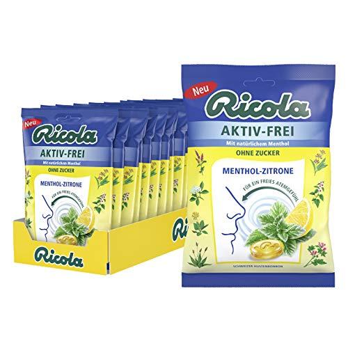 Ricola Aktiv-Frei Menthol-Zitrone, Schweizer Hustenbonbon, 18 Beutel a 75g, ohne Zucker, erfrischend-fruchtig, für ein freies Atemgefühl, 1340 g