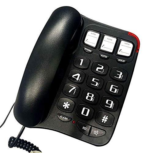 Téléphone - Anglais, Ligne Fixe, Fixe Domestique, Ligne Fixe âgée, Gros Bouton, Noir (20 * 21 * 7cm)