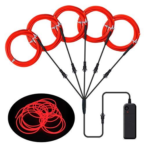 EL Wire, Songway 5 * 1 M Draht Neon Leuchtschnur EL Kabel euchtkabel Neon Wire Leuchtende Strobing Elektrolumineszenz mit 3 Modes für Halloween Weihnachtsfeiern und Partybeleuchtung (Rot)
