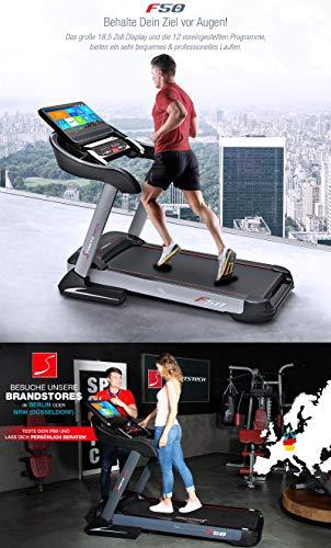 51gJtnaDL0L - Sportstech F50 - Cinta de correr profesional con gran pantalla táctil LCD de 18,5pulgadas y sistema operativo Android, más de 18km/h, soporte para tableta, conexión USB y Wi-Fi, función autolubricante, pendiente del 15% y tamaño compacto y plegable
