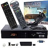 hd-line 310S PRO Receiver Satellit HD Digitaler Satelliten Receiver HDMI DVB S2 Receiver für Sat HD HDMI Sat Receiver HDMI HD Receiver Sat Digital für Satelliten Resiver für TV DVB-S, Mit PVR Schwarz