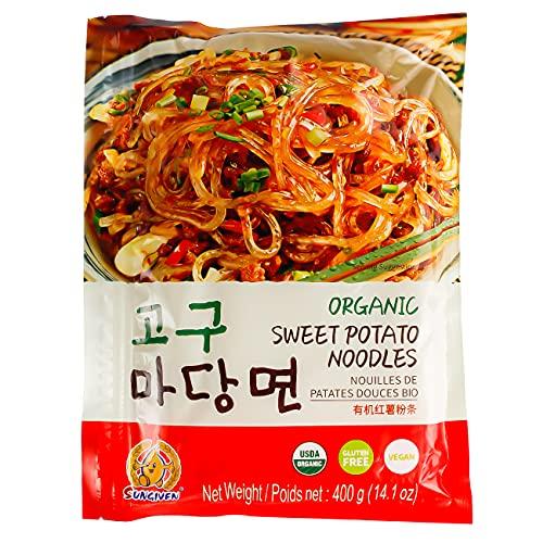 SUNGIVEN Organic Sweet Potato Glass Noodles, Korean Vermicelli Pasta For japchae, Fat-free and Gluten-free, 100% Sweet Potato Starch, No Additive, No Alum inside , 14.11 Ounce