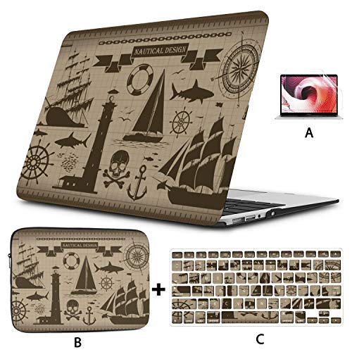 MacBook Air 2018 Case Pirate Fantasy Island Map Laptop Cases Hard Shell Mac Air 11'/13' Pro 13'/15'/16' with Notebook Sleeve Bag for MacBook 2008-2020 Version