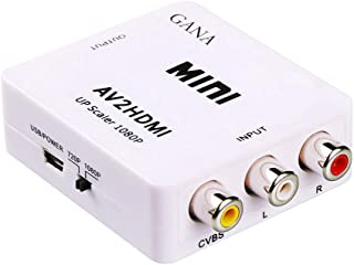 AV to HDMI, GANA 1080P Mini RCA Composite CVBS AV to HDMI Video Audio Converter Adapter Supporting PAL/NTSC with USB Charg...