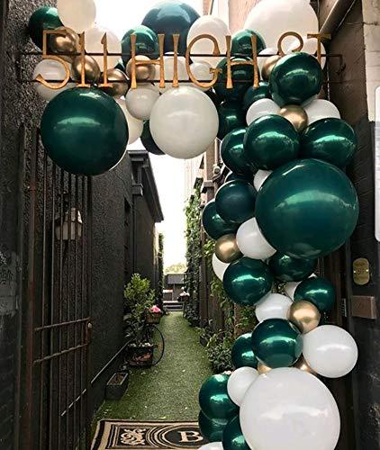Boognt Kit de arco de guirnaldas de esmeralda y oro para arco de globos para 1er cumpleaños, despedida de soltera, salvaje, selva, baby shower, cumpleaños, decoración de fiesta