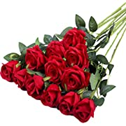 Hawesome 12PCS artificial roses fake flowers single long stem blooms with rose buds Wedding Decoration Bridal Bouquet decorative flower arrangement Home Decoration Party centerpieces in red