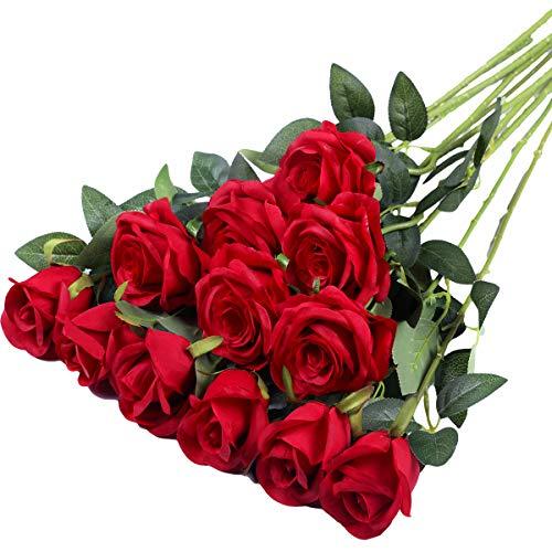 Hawesome 12pcs Fiori Artificiali Rosa Fiore Singolo Fiore Falso Rosa Bouquet Fiori Decorazione di Nozze per la Decorazione Domestica Rosso di Seta Moistening Matrimonio