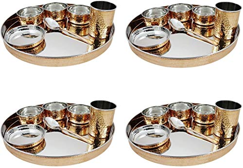 Vrinda's Juego de vajilla de Cobre de Acero Inoxidable de diseño Tradicional con Plato thali, Cuencos, Vaso y Cuchara, Juego de 4 vajillas