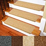 Carpet Stair Treads – Non-Slip Bullnose Carpet for Stairs – Indoor Stair Pads – Self-Adhesive & Easy Installation – Pet & Child Friendly – Skid Resistant & Washable (Set of 14 (10 in×30 in), Camel)