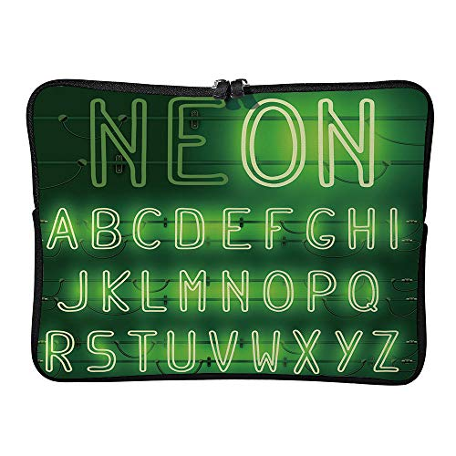 AmaUncle Glowing Neon Latin Alphabet Font Laptop Sleeve Case Water-Resistant Protective Cover Portable Computer Carrying Bag Pouch for Laptop SW38528 13 inch/13.3 inch