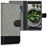 kwmobile Hülle kompatibel mit Razer Phone 2 - Kunstleder Wallet Hülle mit Kartenfächern Stand in Grau Schwarz