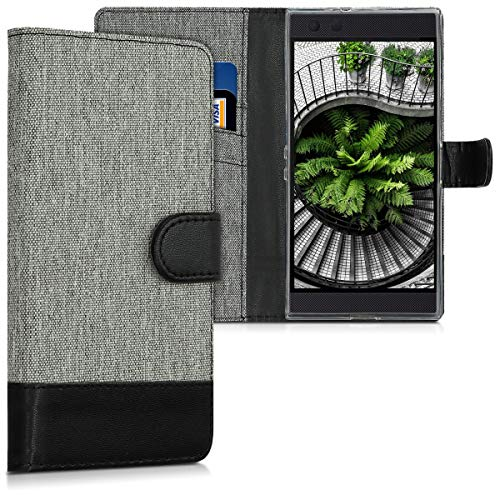 kwmobile Wallet Hülle kompatibel mit Razer Phone 2 - Hülle Kunstleder mit Kartenfächern Stand in Grau Schwarz