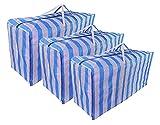 JRing Extra Groß Aufbewahrungstasche mit Reißverschluss Plastiktasche Tragetaschen Blau...