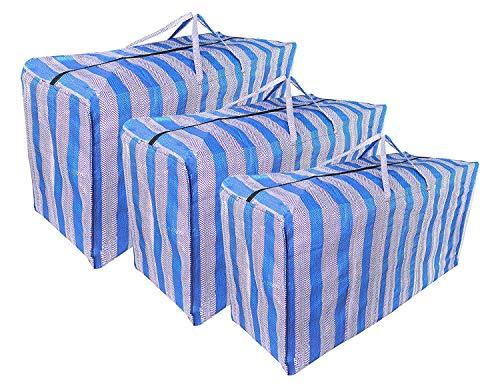 JRing Extra Groß Aufbewahrungstasche mit Reißverschluss Plastiktasche Tragetaschen Blau Allzwecktasche Einkaufstasche (3 Stück)