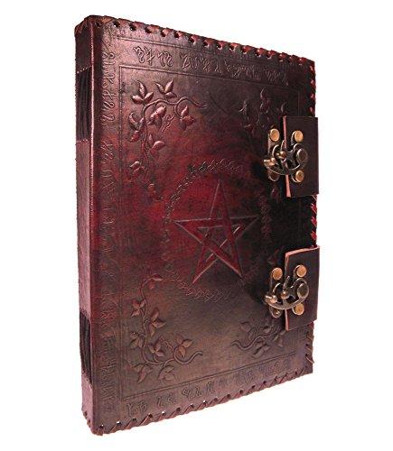 Taccuino di scrittura in pelle rosso con due chiusure, medievale, Occult, Witch