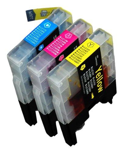 3 Multipack de alta capacidad Brother LC1240 , LC1280 Cartuchos Compatibles 1 ciano, 1 magenta, 1 amarillo para Brother DCP-J525W, DCP-J725DW, DCP-J925DW, MFC-J430W, MFC-J5910DW, MFC-J625DW, MFC-J6510DW, MFC-J6710DW, MFC-J6910DW, MFC-J825DW. Cartucho de tinta . LC-1240C , LC-1240M , LC-1240Y © 123 Cartucho