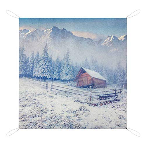 Best Review Of Nomorer Winter Picnic Blanket Waterproof Backing, Old Farmhouse in Snow Mountains and...