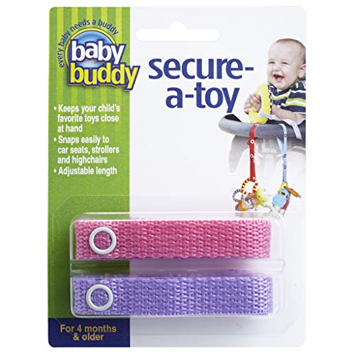 Baby Buddy Secure-A-Toy - Straps Toys, Teether, or Pacifiers to Strollers, Highchairs, Car Seats