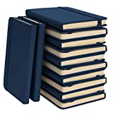 """Simply Genius (12 Pack) Mini 3.7"""" x 5.7' A6 Leatherette Journals to Write in, Faux Leather Journal Notebook for Travel, 124pg Ruled with 5' Inner Pocket, Navy"""