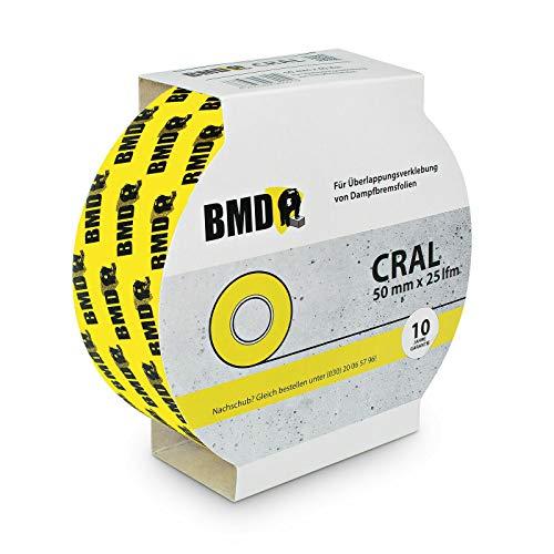 BMD cral Hochleistungsklebeband (short 50mm x 25m) zur Verklebung von Dampfbremse, Dampfsperre, PE Folie, OSB Platten nach DIN 4108 Teil 7 & ENEV