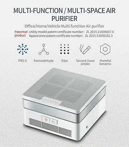Compacto purificador de aire con UV-C, HEPA y filtros carbón UV limpieza de la luz mata los gérmenes y bacterias virus filtración purificación elimina el polvo del polen de humo del hogar olores