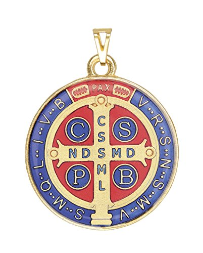 Intercession Saint Benedict Color Medal (Golden - Extra Large - 1-3/4 Inches)