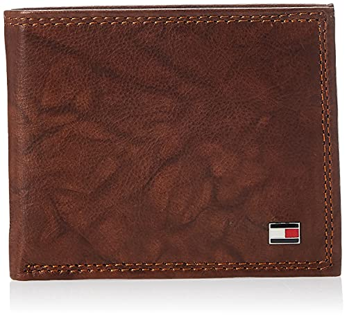 Tommy Hilfiger Men's Leather Passcase Wallet, Tan Huck, One Size