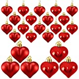 ricluck 24 Pieces Valentine's Day Heart Shaped Ornaments, Glossy and Matt Heart Baubles Hanging Decorations for Valentine's Day Wedding Anniversary Home Party Decor