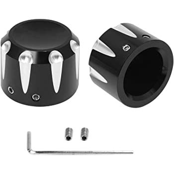 Amazicha Black Front Axle Nut Covers Cap Edge Cut for Harley Touring Softail 2007-2018 live4fun