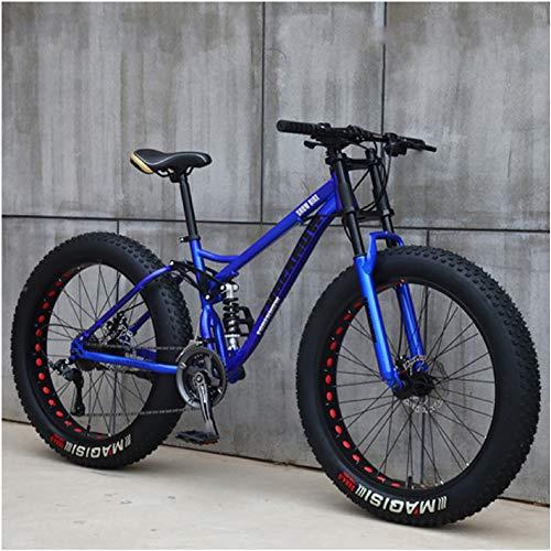 NENGGE Hard Tail Bicicleta Montaña Neumático Gordo 24 Pulgadas Full Suspension MTB Ciclismo con Doble Freno Disco, Marco De Acero De Alto Carbono, Hombre & Mujer,Azul,21 Speed