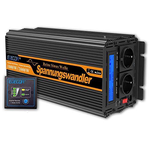 EDECOA Convertisseur Pur Sinus 12v 220v onduleur 1000w ecran LCD transformateur de Tension 12v 220v avec télécommande et Deux Ports USB