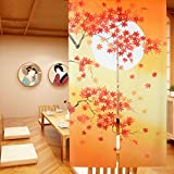 LIGICKY Japanese Noren Long Type Doorway Curtain Door Tapestries for Home Decoration 33.5 x 59 inch (Autumn Maple Leaves and Full Moon)
