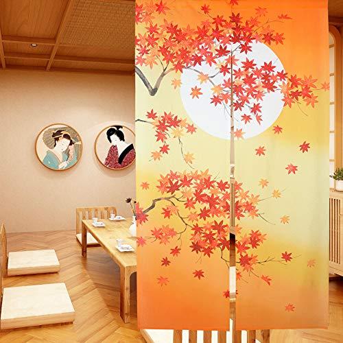 Cortina de puerta japonesa Noren para decoración del hogar, de LIGICKY, tela poliéster, Hojas de arce de otoño, 33.5 x 59 inch