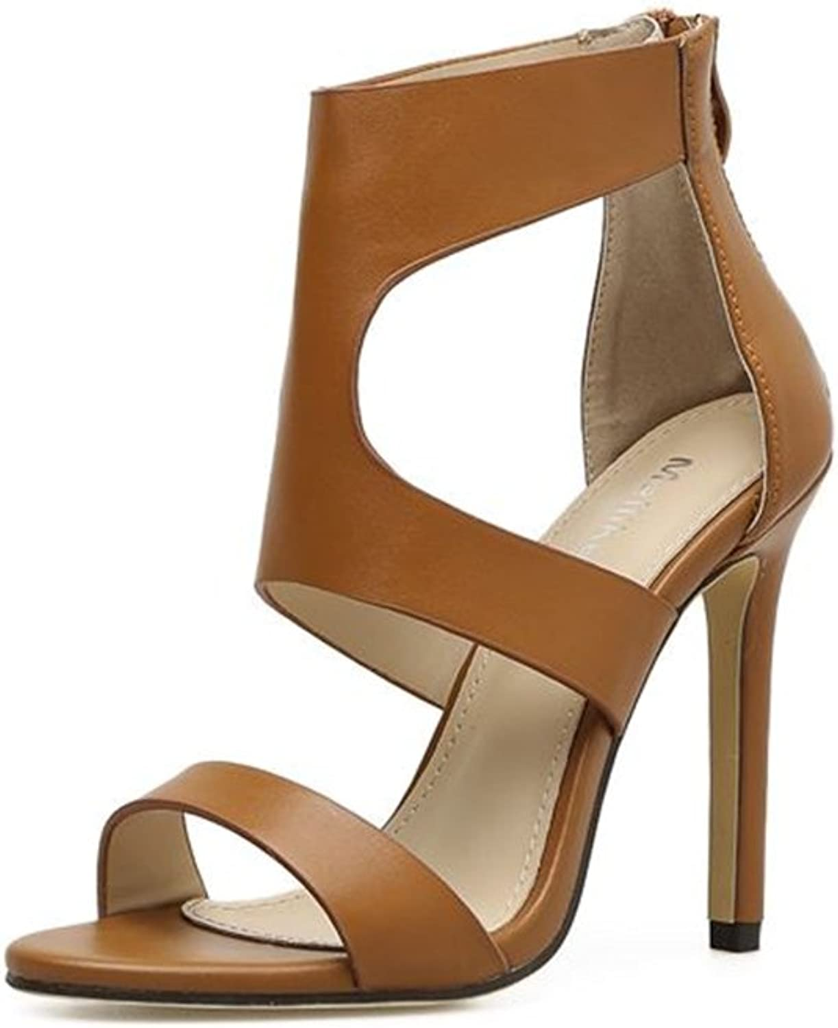 Smart.A Women Ankle Heels Sexy Peep Toe Platform Pumps shoes with Zip