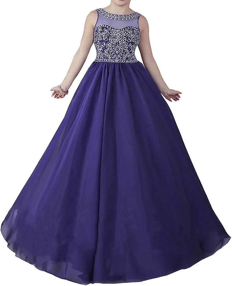 Honeydress Girl's Chiffon Scoop Neckline Little Girls Pageant Dresses First Communion Dress Ball Gown