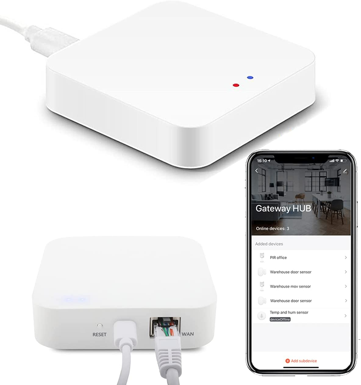Puerto de Enlace Zigbee Hub Gateway Si Smart funciona hasta 128 dispositivos Zigbee compatibles con Smart Life o Tuya Smart. Smart Home Bridge. Conexión por cable Ethernet incluida.