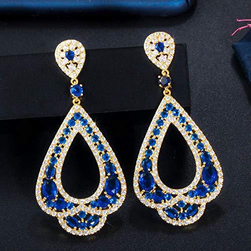 NOBRAND Pendientes Mujer Elegante Joyería De Fiesta Nupcial Larga Gota Cubic Zirconia Grandes Pendientes De Boda Azul para Novias