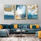 Kribee Cuadro moderno abstracto azul lienzo de lujo de la pared del paisaje marino 3 piezas nórdico ...