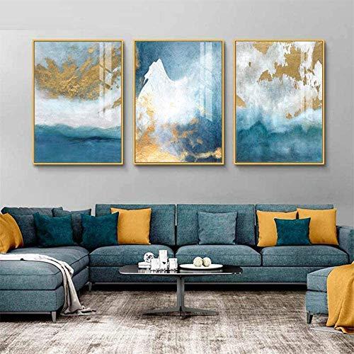 Kribee Cuadro moderno abstracto azul sobre lienzo de lujo para pared, 3 piezas, póster nórdico, para sala de estar, dormitorio, decoración del hogar, 40,6 x 60,9 x 3 piezas, sin marco.