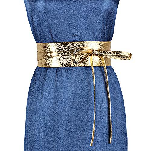 ICSTH Womens Soft Faux Leather Self Tie Wrap Around Obi Waist Band Cinch Belt (dark gold)