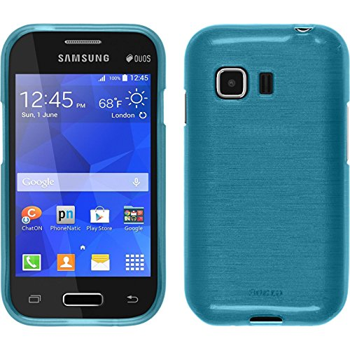 PhoneNatic Case kompatibel mit Samsung Galaxy Young 2 - blau Silikon Hülle Brushed + 2 Schutzfolien