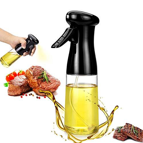 WELLXUNK Rociador de Aceite para Cocinar, Pulverizador Aceite Botella, Dispensador de Aceite Oliva Botella, Rociador de Vinagre, para Cocinar, Ensalada, Hornear, Pan, BBQ (Negro)