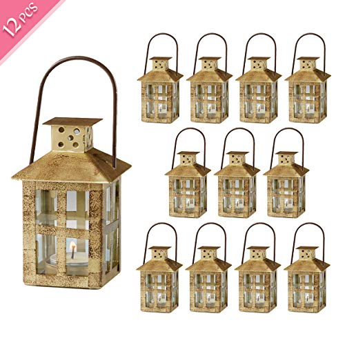 Kate Aspen Decorative Lanterns, Distressed Metal Vintage Mini Wedding Lantern, Centerpiece for Wedding Table, Accent Piece and Home Decor, Wedding Favors and Baby Shower Favors (Gold, 12)