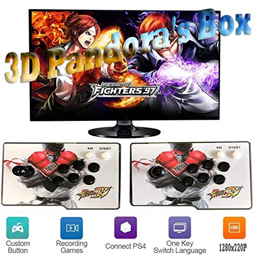 ZQYR# Pandora's Box 3D Home Arcade Konsole, 2 Spieler, 1280x720 Full HD Multiplayer Arcade Game Console Joystick Spiele Game, 4000 Spiele All in 1 Double Stick Buttons Power HDMI, GM4241611