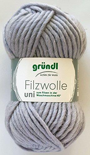 Gründl Wolle 50 Gramm Filzwolle Uni 100 % Schurwolle (50 Hellgrau)